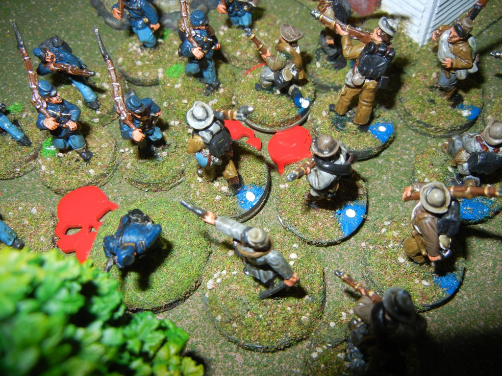 Another melee only this time it is the Union troops who are weakened and outnumbered.