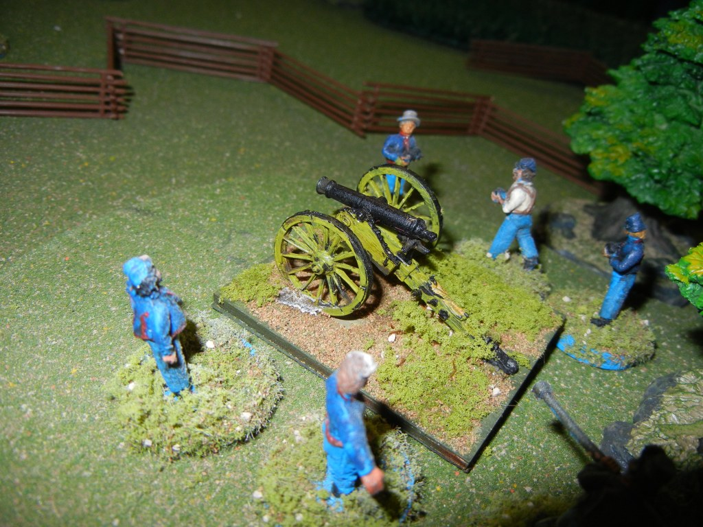 But the triumph is short lived...the Union has brought up a 12lb Howitzer and its crew. The gallant Confederate captain has no choice but to order his troops to withdraw.