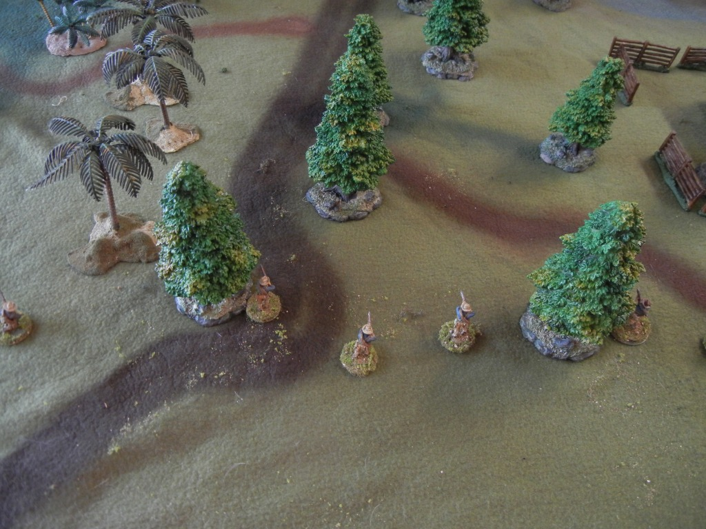 Part of the American squad advancing in skirmish order.